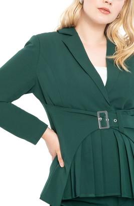 ELOQUII Pleat Detail Belted Blazer