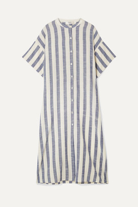 Sea Cici Oversized Striped Linen Midi Dress - Blue