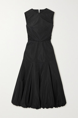 Renaissance Renaissance - Yoko Ruched Cotton-taffeta Midi Dress - Black