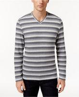 Alfani Men's Stretch Ribbed V-Neck Striped Sweater, Only at Macy's