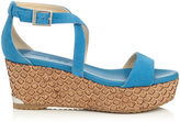 Jimmy Choo PORTIA 70 Robot Blue Suede Lasered Cork Covered Wedges