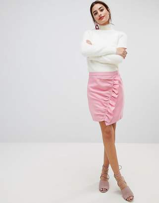 NA-KD Na Kd Side Frill Mini Skirt-Pink