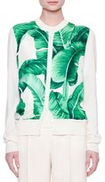 Dolce & Gabbana Button-Front Banana Leaf-Print Cardigan, White/Green