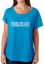 LOS ANGELES POP ART Los Angeles Pop Art Women's Loose Fit Dolman Cut Word Art Shirt - Different foods made with chocolate
