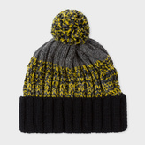 Paul Smith Men's Grey Lambswool Twisted-Yarn Cable Knit Bobble Hat