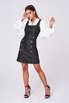 Paper Dolls Magnus Black Metallic Stripe Jacquard Pinafore Dress