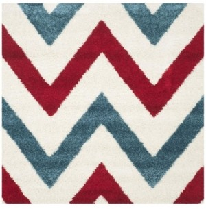 """Safavieh Shag Kids Ivory and Red 6'7"""" x 6'7"""" Square Area Rug"""