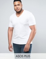 Asos PLUS Muscle T-Shirt With V Neck In White