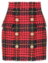 Balmain Plaid tweed mini skirt