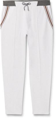 Brunello Cucinelli Slim-Fit Tapered Stripe-Trimmed Melange Cotton-Blend Jersey Sweatpants