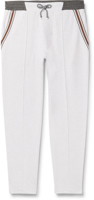 Brunello Cucinelli Slim-Fit Tapered Stripe-Trimmed Melange Cotton-Blend Jersey Sweatpants