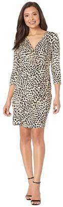 Karen Kane Cascade Wrap Dress (Cheetah) Women's Dress