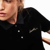 Lacoste Women's LIVE Slim Fit Golden Signature Velvet Polo Shirt