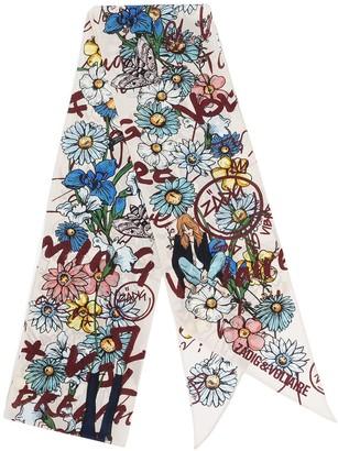 Zadig & Voltaire Skinny Flowers silk scarf