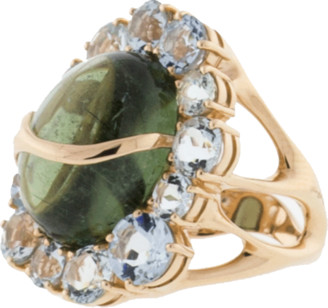 Federica Rettore Waterfall Green Tourmaline And Aquamarine Ring