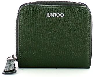 Iuntoo Green Leather Armonia Zip Around Small Women's Wallet