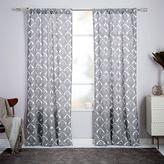 Cotton Canvas Fleur Printed Curtain - Stone White