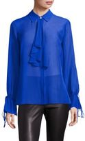 Saks Fifth Avenue Collection Silk Collared Ruffle Blouse