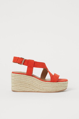 H&M Wedge-heeled Sandals - Orange