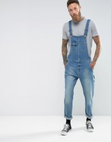 Asos Denim Overalls In Vintage Mid Wash Blue With Work Wear Styling