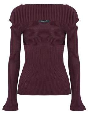 Cushnie et Ochs Cutout Ribbed-Knit Top