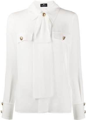 Elisabetta Franchi bow-neck long sleeved blouse