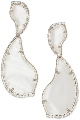 Kendra Scott Teddi Rhodium Plated Brass Ivory Mother-of-Pearl CZ Teardrop Earrings