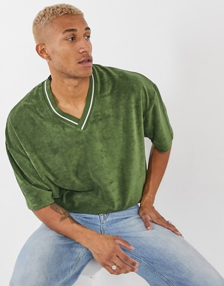 ASOS DESIGN oversized t-shirt with deep v-neck tipping in green towelling
