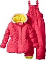 Pink Platinum Little Girls' Toddler Snowsuit with Embroidered Coat