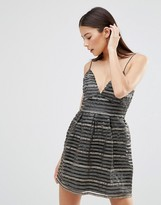 AX Paris Cami Skater Dress In Metallic Geo-Tribal