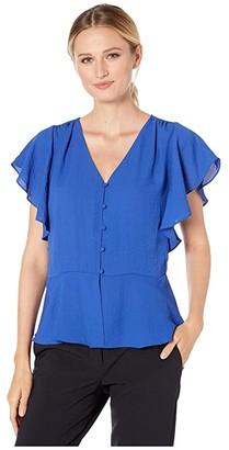 Vince Camuto Short Sleeve Rumple Peplum Hem V-Neck Blouse (Electric Blue) Women's Clothing