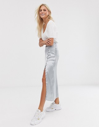Asos Design DESIGN city maxi satin slip skirt with rouleau loop buttons-Gray