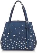 Jimmy Choo SASHA/S Camellia Pearlised Metallic Deerskin Mini Tote Bag with Pink Crystal Stars