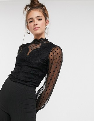 Morgan sheer floral dotty lace body in black