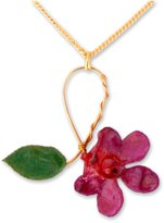 "Novica Yellow Gold-Plated Handmade Natural Orchid and Rose Leaf Pendant Necklace, 18"", 'Sublime'"