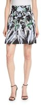 Milly Kayla Painterly Floral-Print Miniskirt, Black Multi