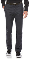 Perry Ellis Slim-Fit Flat-Front Stretch Heather Check Pants