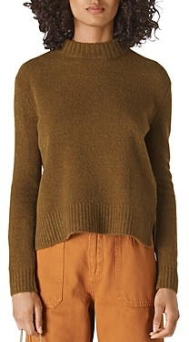 Whistles Ribbed Trim Mock Neck Sweater