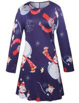 Ruiyige Womens Long Sleeves Snowman Xmas Tree Gift Print Party Flared Swing Tunic Dress L