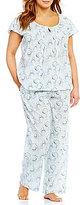 Cabernet Plus Swirl-Print Flutter-Sleeve Pajamas