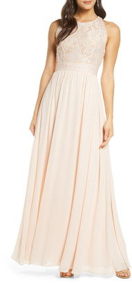 Lulus Forever & Always Lace Bodice Gown