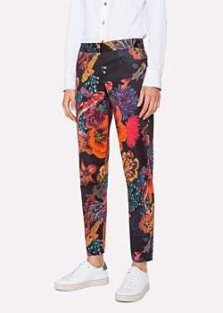 Paul Smith Women's Black 'Ocean' Print Stretch-Cotton Trousers