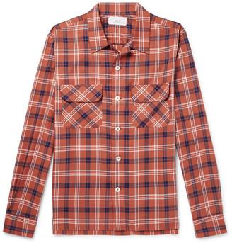 Camp-Collar Checked Tencel Shirt