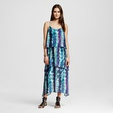 Mossimo Women's Tiered Woven Dress Blue & Purple Print
