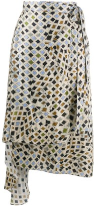 Preen by Thornton Bregazzi Dia woodblock print asymmetric skirt