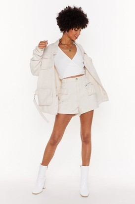 Nasty Gal Womens Zip Code High-Waisted Denim Shorts - Cream - 6, Cream