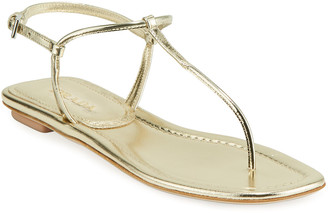 Prada Flat Metallic Leather T-Strap Sandals
