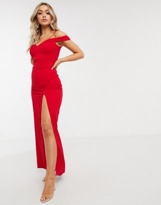 AX Paris bandeau maxi dress with slit in red