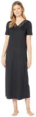 Hanro Moments Short Sleeve Long Gown (Black) Women's Clothing