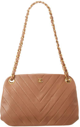 Chanel Beige Chevron Quilted Lambskin Leather Shoulder Bag